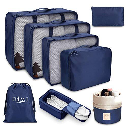 DIMJ - Organizer per valigia, cubici, da viaggio, set di 8, sacchetti per valigia per vestiti, scarpe e cosmetici Blu Bleu Marine