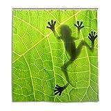 MyDaily Duschvorhang Frosch mit Blättern, 167,6 x 182,9 cm, schimmelresistent & wasserfest, Polyester-Dekoration