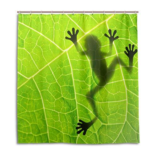 MyDaily Duschvorhang Frosch mit Blättern, 182,9 x 182,9 cm, schimmelresistent und wasserfest, Polyester-Dekoration