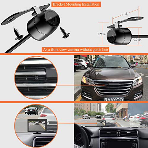 Reverse Backup Camera,RAAYOO L002 170 Degree Wide View Angle 2-in-1 Universal Car Front/Side/Rear View Camera,2 Installation Options,Removable Guildlines,mirror non-mirror image,12V only