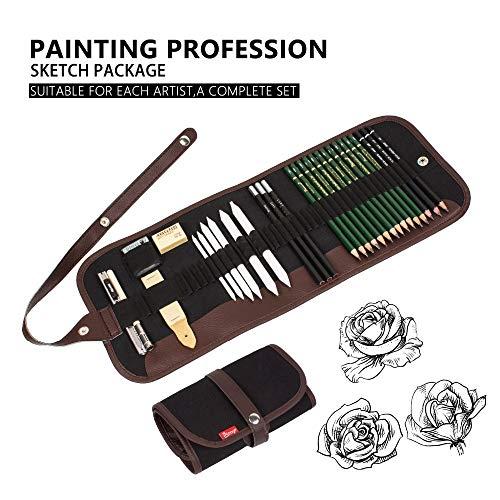 NIUPAN 30 stuks houtskool gum tekening potloodschets schilderij canvas potlood tas set cadeau voor kinderen |Potloodschets tekenen |Teken Potlood |Potloodschets Sketch-