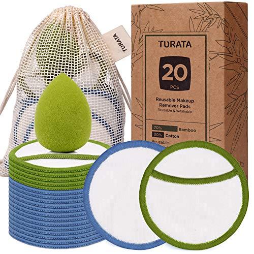 Coton Démaquillant Lavable Bio, 20PCS Disques Démaquillants Lavables en Coton Bambou Lingette Coton Réutilisable pour Nettoyage Démaquillage Visage avec Sac à Lavage et Eponge de Maquillage TURATA