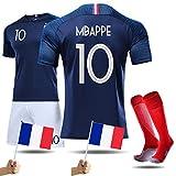 LOVEY Maillots de Football Enfants France Soccer Jersey 2018 Coupe du Monde France 2 Étoiles Vêtements de Football Champion pour Garçon Filles T-Shirt et Short Chaussettes