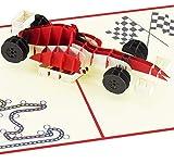 3D-Pop-Up-Karte mit rotem Rennwagen