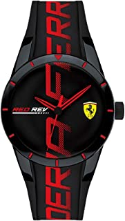 Ferrari Men's Stainless Steel Quartz Watch with Silicone Strap, Black, 18 (Model: 0840026)