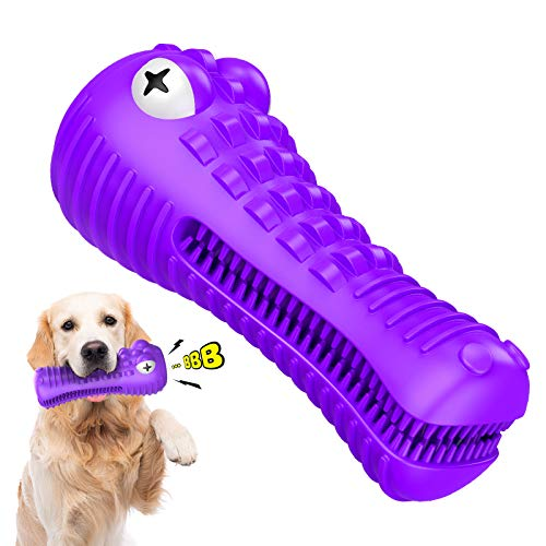 Dog Chew Toys CHOOBY Squeaky Dog Toys for Aggressive Chewers Indestructible Natural Rubber Dog Toothbrush Toys with 2 Cleaning Brush Interactive Tough Durable Chew Toys for Medium Large Breed Dogs