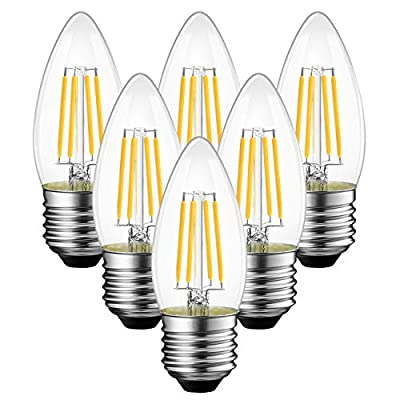 ANWIO B11 LED Filament Bulb E26 Candelabra Base 4.5W(60W Equivalent), Dimmable 2700K Warm White Chandelier Decorative Candle Light Bulb (6-Pack)