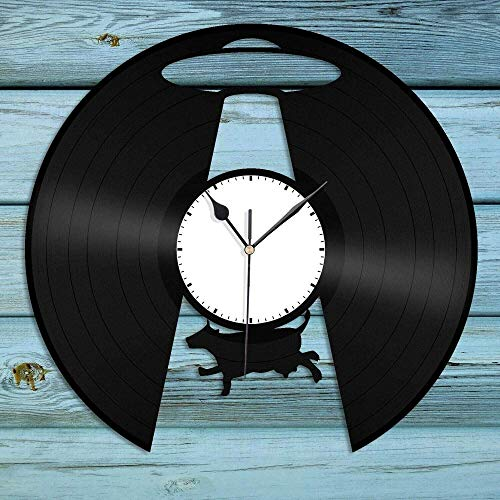 HUIQI Vinyl Record Wall Clock Wall Clock with Indoor and Outdoor Temperature UFO Galaxy Vinyl Wall Clock Best Gift for Friends Home Office Room Decoration Vintage Design Office Home Decor