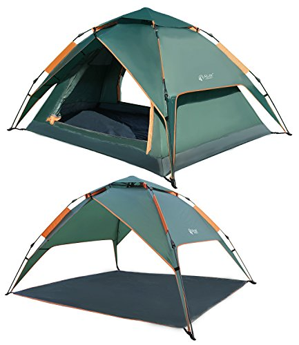 REDCAMP 2 3 Person Automatic Tent for Camping, Instant Waterproof Tent, 3 Season Two-Function Camping Tents with Sun Shelter, Army Green