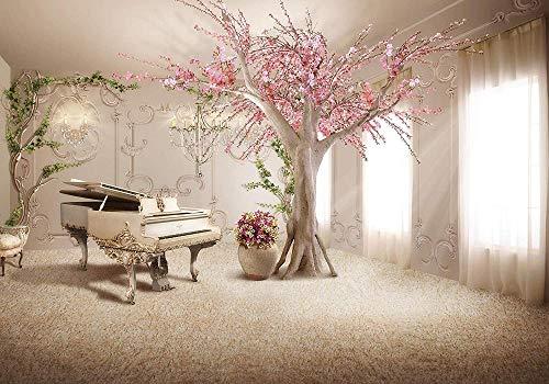 VGFGI Papel tapiz fotográfico extensión de la habitación árbol de piano papel tapiz fotográfico mural patrón papel tapiz sepia flor clásico