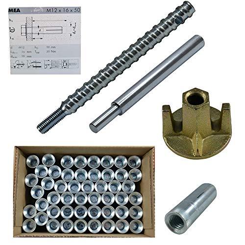 Befestigungsset Beton 53-teilig für Bohrdurchmesser 16 mm für Kernbohrständer wahlweise mit SDS-Plus-Bohrer
