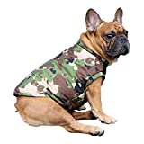 iChoue Dog Cotton Padded Coat Thick Winter Warm Vest Waistcoat Cold Weather Jacket Clothing for French Bulldog Pug Boston Terrier Shiba Inu- Camouflage M