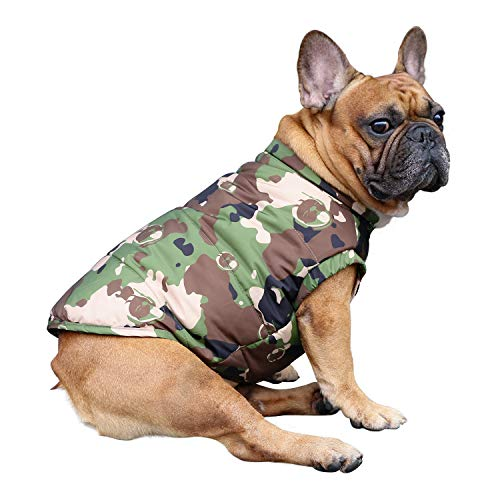 iChoue Dog Cotton Padded Coat Thick Winter Warm Vest Waistcoat Cold Weather Jacket Clothing for French Bulldog Pug Boston Terrier Shiba Inu- Camouflage M