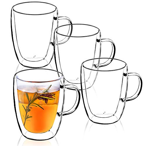 KADAX - Taza de cristal de doble pared con mango, 270 ml, vaso para zumo, té, café, bebida, agua, capuchino, cristal universal, cristal de té, alta calidad, vidrio, transparente, 18,5 x 9,5 x 12 cm