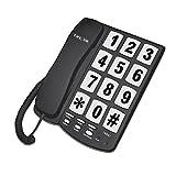 Teléfono fijo de cable con botones grandes para montar en la pared en blanco/negro