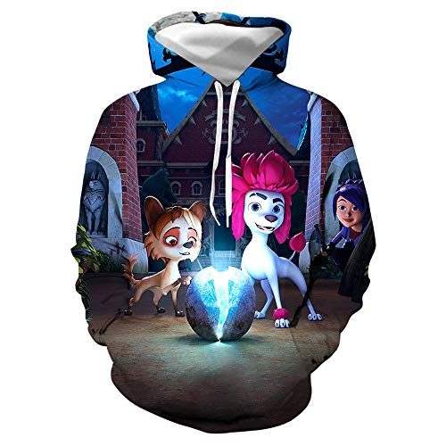 jiuyaomai Sweatshirt Giacca da Uomo E Donna in Felpa con Cappuccio con Stampa Animalier Pegasus Colorata A Cartone Animato 3D 2 4XL