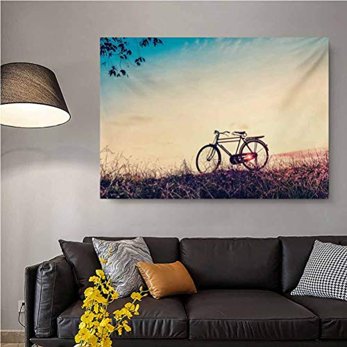 ScottDecor Vintage Bike Wall Decor for Girls Bedroom Retro Filter Sunset and Bicycle in Pastel Tones Hipster Joyful The Ideal Gift for Any Occasion Peach Pale Blue Black L36 x H24 Inch