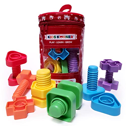 Jumbo Nuts and Bolts for Toddlers - Fine Motor Skills Rainbow Matching Game...