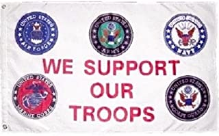 Moon 3x5 ft Military We Support Our Troops 5 Branches Service nylon poly Banner Flag - Vivid Color and UV Fade Resistant - Prime Outside Garden Home Decor