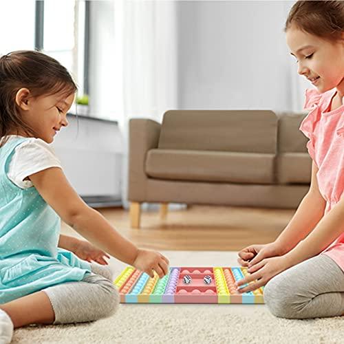 XXL Pop Game Zappelspielzeug, Regenbogen Schachbrett Push Bubble Popper Zappeln Sinnesspielzeug für Eltern-Kind-Zeit, Interaktives Jumbo Stress Relief Figetget Spielzeug zum Spielen mit Freunden-Rosa