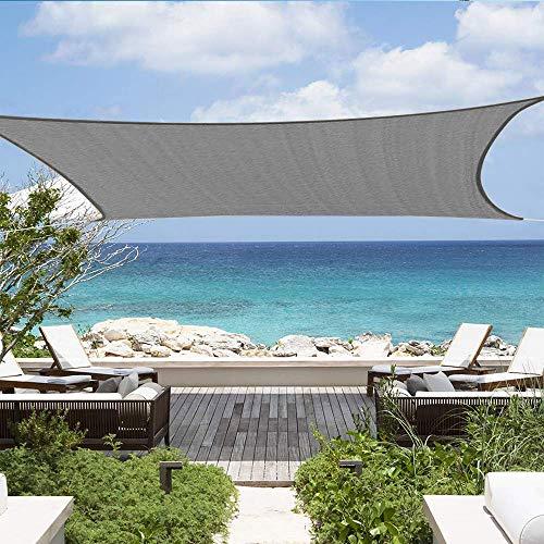 Shade&Beyond Sun Shade Sail Rectangle Canopy 12' x 16' Sail Shade Dark Grey Sun Shades for Patios