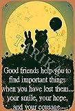 BIGYAK Good Friends Help You To Find Important Things - Cartel decorativo para decoración de pared (20 x 30 cm), diseño vintage