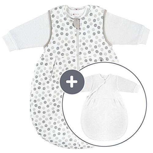 Coconette Ganzjahres Baby-Schlafsack Circle - 2-teilig: Langarm Innensack & gefütterter Außensack für Sommer & Winter, 100% Baumwolle - Größe: 0-3 Monate (50/56)