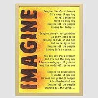 装飾画 イマジン・ミュージックジョン・レノン歌詞モチベーションタイポグラフィ引用 ポスター 部屋飾り インテリア絵画 木製フレーム付 部屋装飾 新築祝い 贈り物 A3(33x45cm)