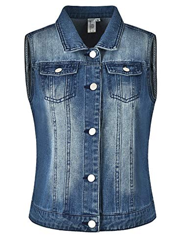 MISS MOLY Giacca Jeans Donna Vintage Giacca di Jeans Donna Corta Gilet Senza Maniche Blu - S