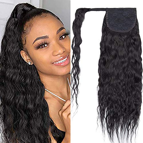 22 inch SEGO Ponytail Extension Human Hair Corn Wave 100% Real Remy [#1 Jet...