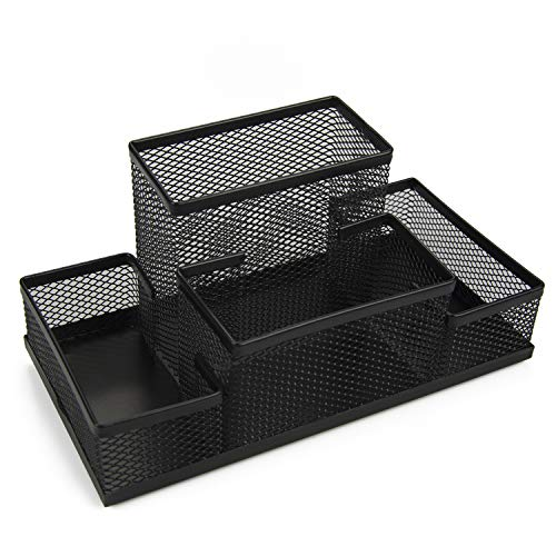 Mesh Pen Holder 4 Compartments Black Desk Organizer Pencil Container Lightweight Durable Metal School Office Supply Caddy for Scissors Note Clips Stapler