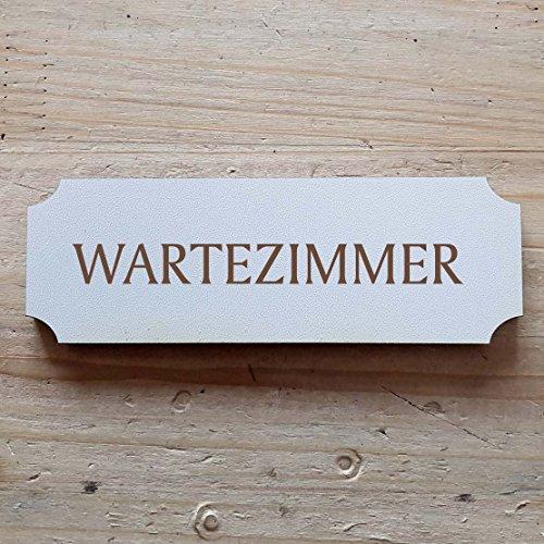 Schild « WARTEZIMMER » ab: 15 x 5 cm - Dekoschild Holzschild Türschild - Arzt Klinik Behandlung Praxis (15 x 5 cm)