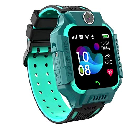 linyingdian Smartwatch Niños,Reloj Inteligente Niños con Flashlight, IP67 LBS SOS, Cámara, Smartwatch con Ranura para Tarjeta SIM, Regalo Niño Niña de 3-12 Años Compatible con iOS/Android (Verde)