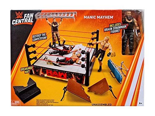 WWE Mattel Fan Central Manic Mayhem Playset with Ring Braun Strowman Figure