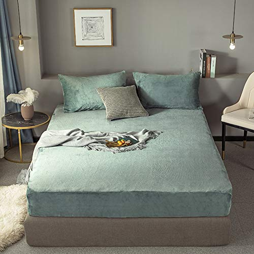 HAIBA Sábana moderna y simple de color sólido suave y cálido franela colchón protector otoño invierno banda elástica terciopelo cama 1 pieza, azul 1,150 x 200 cm