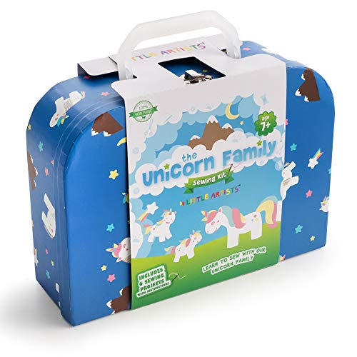 Little Artists Unicorn Family Kids Sewing Kit with Instructions - Craft Kit for Girls Age 7+