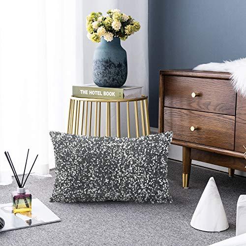 LIGICKY Luxury Series - Fundas de almohada con lentejuelas brillantes y rectangulares decorativas, para sofá, dormitorio, decoración de fiestas (30,5 x 50,8 cm), color gris plateado