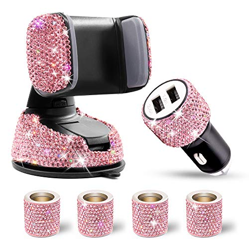 6 Pack Pink Bling Rhinestones Cell Phone Holder Set (Crystal Car Cell Phone Holder + 2-Port Car USB Charger + 4 Car Headrest Collars) for Women Girls Car Phone Decoration Accessories