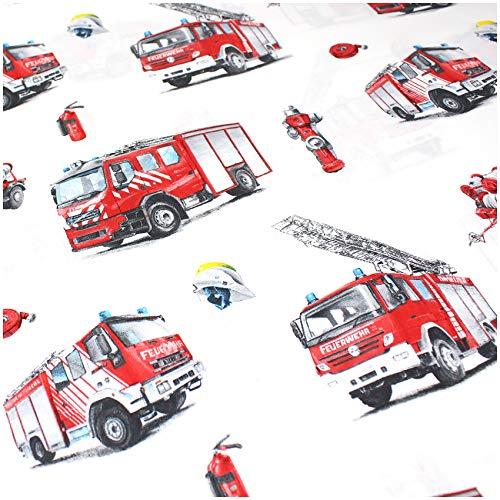 VmG-Store - Tela de algodón para niños (150 cm de ancho), Bb019 - Coche de bomberos, 100 x 150cm