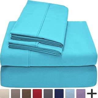 Aqua Blue, Microfiber Twin Extra Long Sheet Set, Twin XL