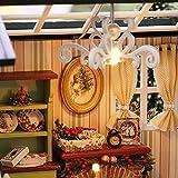 Decdeal DIY Puppenhaus 3D Holz Miniaturhaus Kit mit LED Licht Kunsthandwerk Geschenk für Valentinstag, Kindertag, Weihnachten, Hochzeit, Geburtstag - 2