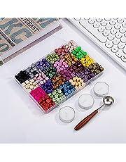 Verdelife 600 stuks zegellak kralen, Octagon zegellak kralen stokken, retro verf zegellak met wax smeltlepel, voor wax stempel afdichting (24 kleuren)