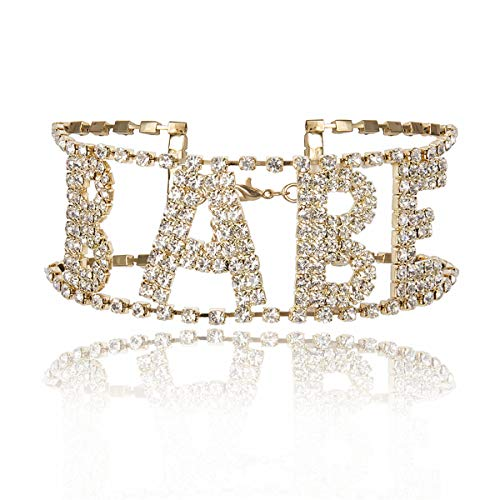 Ingemark Sexy Babe Princess Block Letter Wide Crystal Collar Choker for Women Girls Shiny Rhinestone Multi Layer Necklace (Babe-Golden)