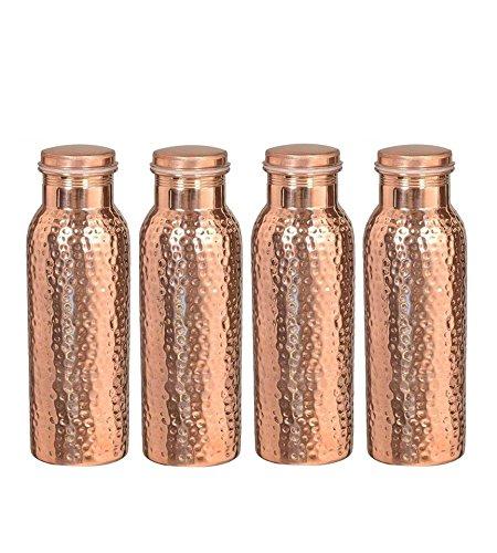Reise-Wasserflasche aus reinem Kupfer, für ayurvedische Gesundheit, fugenfrei, auslaufsicher, gehämmert Sale for - 4 Pieces