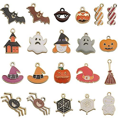 NOTIONSLANND - Abalorio de Halloween para hacer joyas, 21 piezas de aleación con colgante de fantasma de calabaza para joyas, pulseras, collares y manualidades