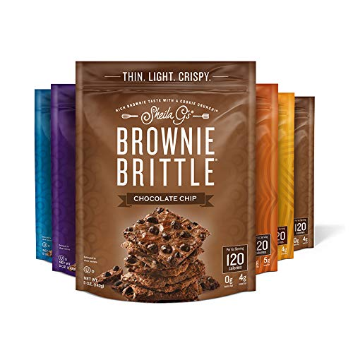 Sheila G's Brownie Brittle 5oz Variety Pack- Sweets & Treats Dessert, Low Calorie, Healthy Chocolate, Thin Sweet Crispy Snack-Rich Brownie Taste with a Cookie Crunch- 5oz, Pack of 6
