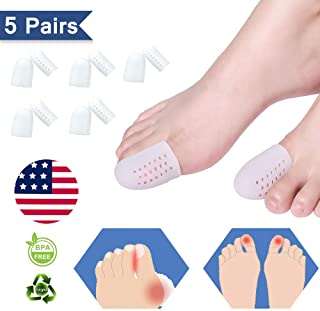 (10 PCS) Gel Toe Cap, Toe Protectors/Sleeves, Breathable Cushions Provide Relief from Missing or Ingrown Toenails, Corns, Blisters, Friction Pain, Hammer Toes, Reusable Big Toe Protector-White