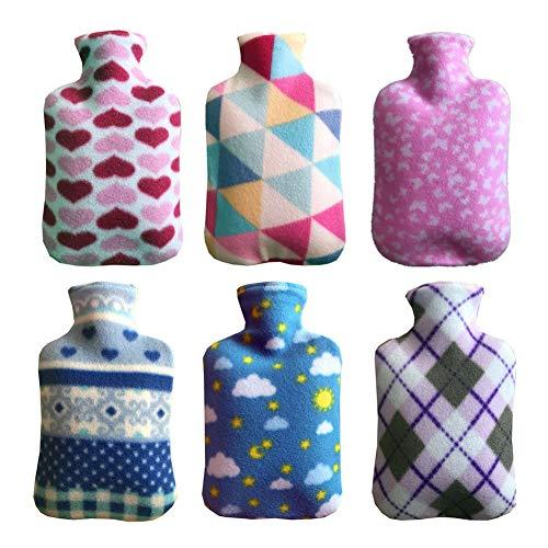 Wärmflasche mit weichem Fleece-Bezug, 2 Liter, groß