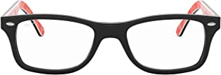 Ray-Ban 0rx5228 No Polarization Square Prescription Eyewear Frame, Top Black on Texture Red, 55 mm