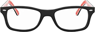 Ray-Ban 0rx5228 No Polarization Square Prescription Eyewear Frame, Top Black on Texture Red, 50 mm